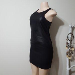 NEW! BANANA REPUBLIC BLK & FAUX LEATHER DRESS!
